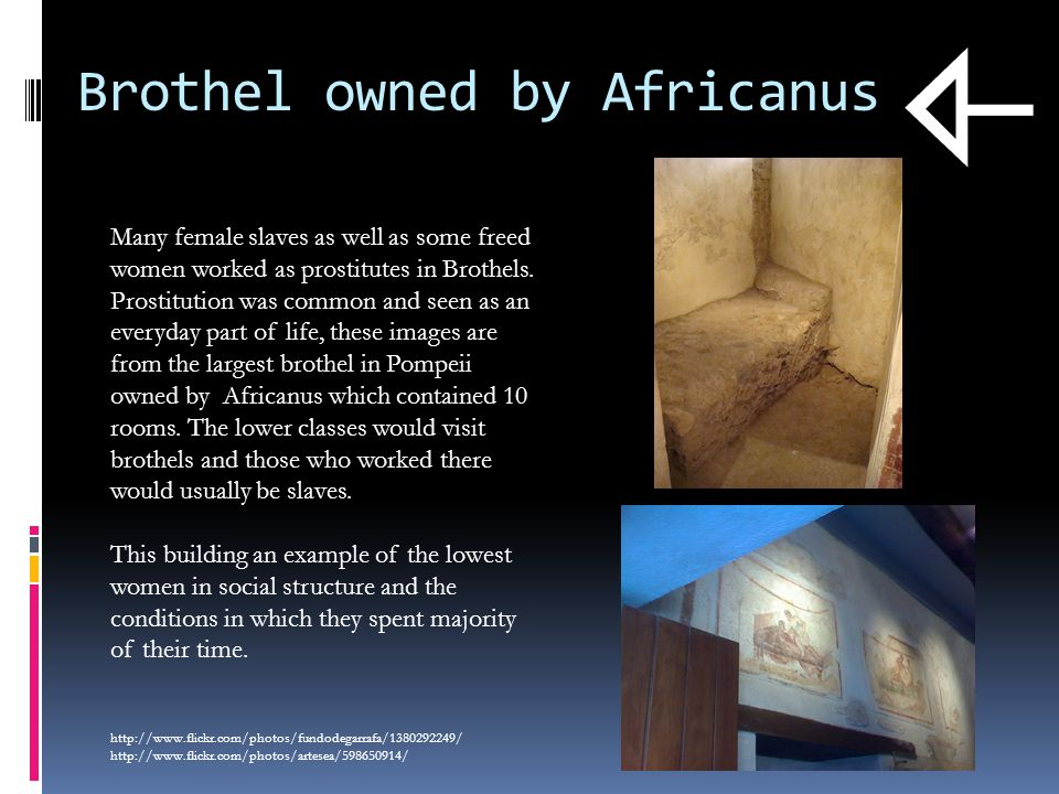 Brothel owned by Africanus Many female slaves as well as some freed women worked as prostitutes in Brothels.