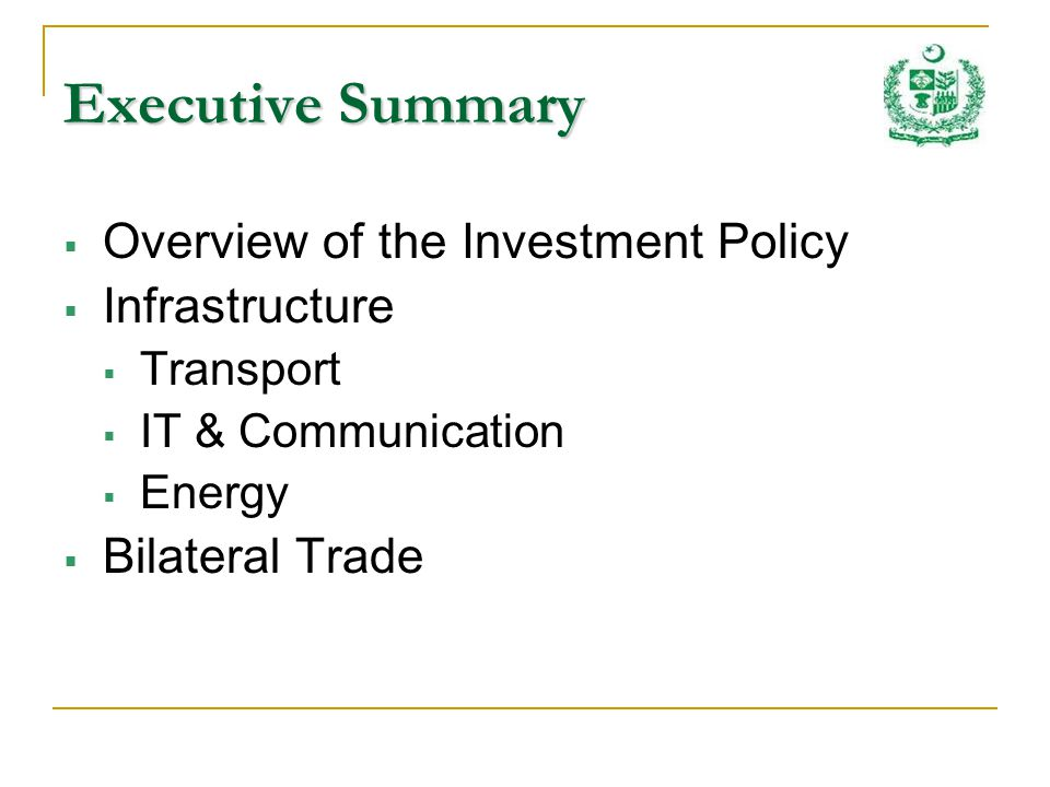 Investment Opportunities Feasibility studies of projects in process: Lower Spat Gah Hydropower Project Capacity – 567 MW Tentative Project Cost – US $ 614 million Lower Palas Valley Hydropower Project Capacity – 621 MW Tentative Project Cost – US $ 667 million