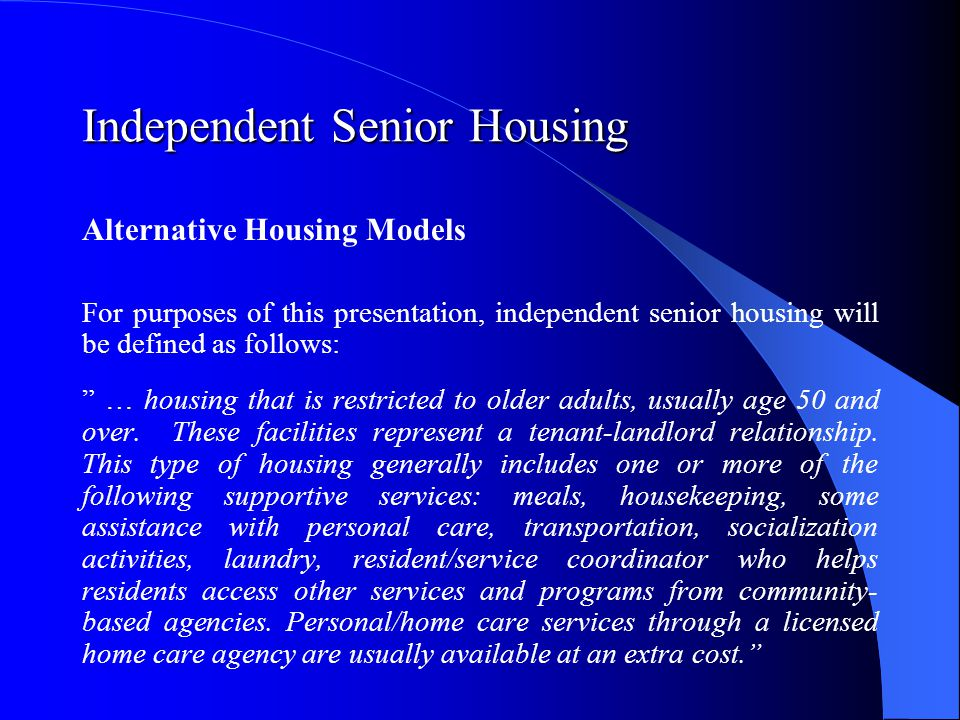 Independent Senior Housing Current Housing Situation The significance of housing is stressed by numerous laws and legal documents including the Constitution of the Republic of Poland.