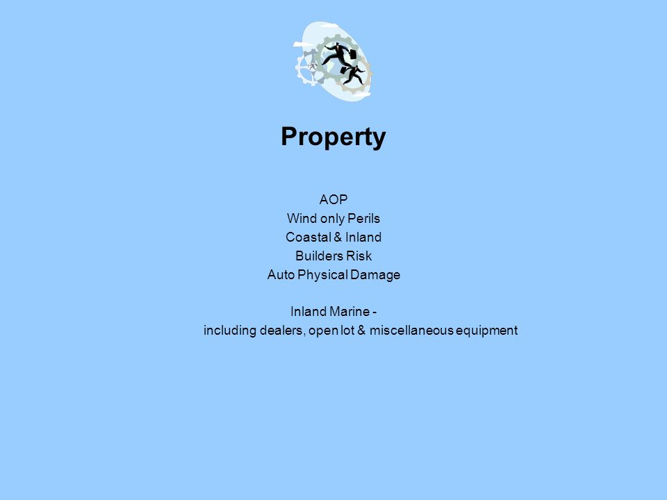 Property AOP Wind only Perils Coastal & Inland Builders Risk Auto Physical Damage Inland Marine - including dealers, open lot & miscellaneous equipment