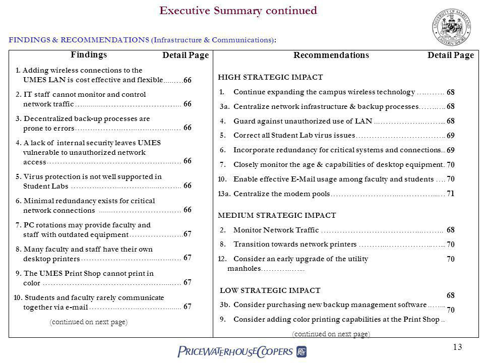 13 Executive Summary continued Findings 1.
