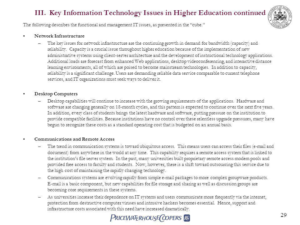 29 III. Key Information Technology Issues in Higher Education continued The following describes the functional and management IT issues, as presented