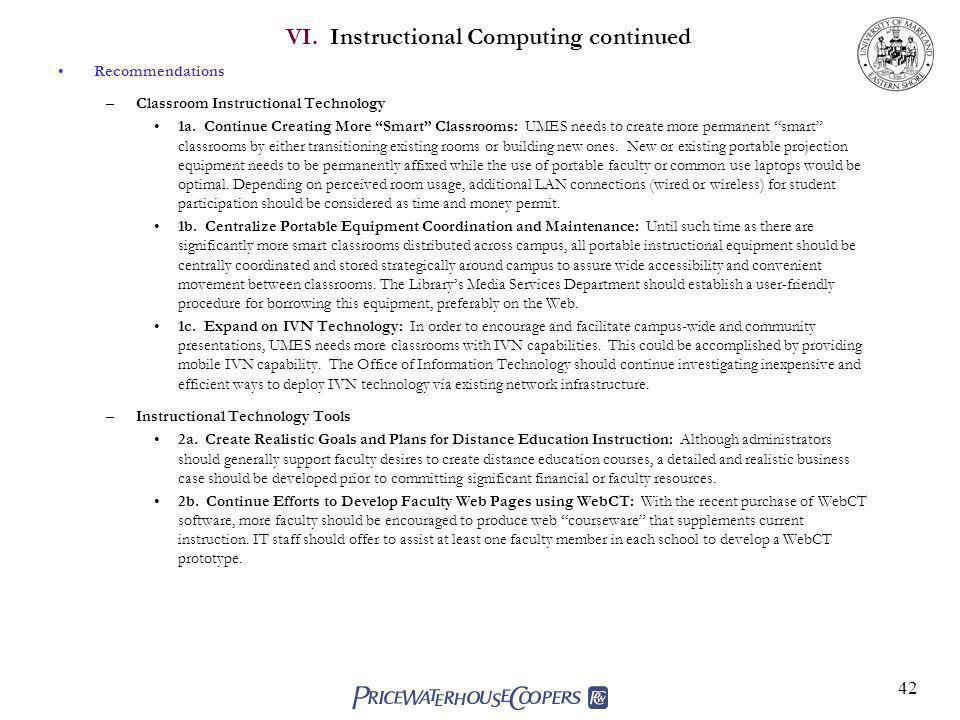 42 VI.Instructional Computing continued Recommendations –Classroom Instructional Technology 1a.