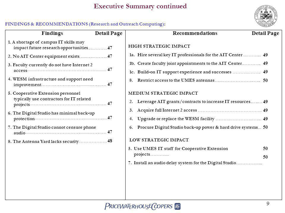 9 Executive Summary continued Findings 1.