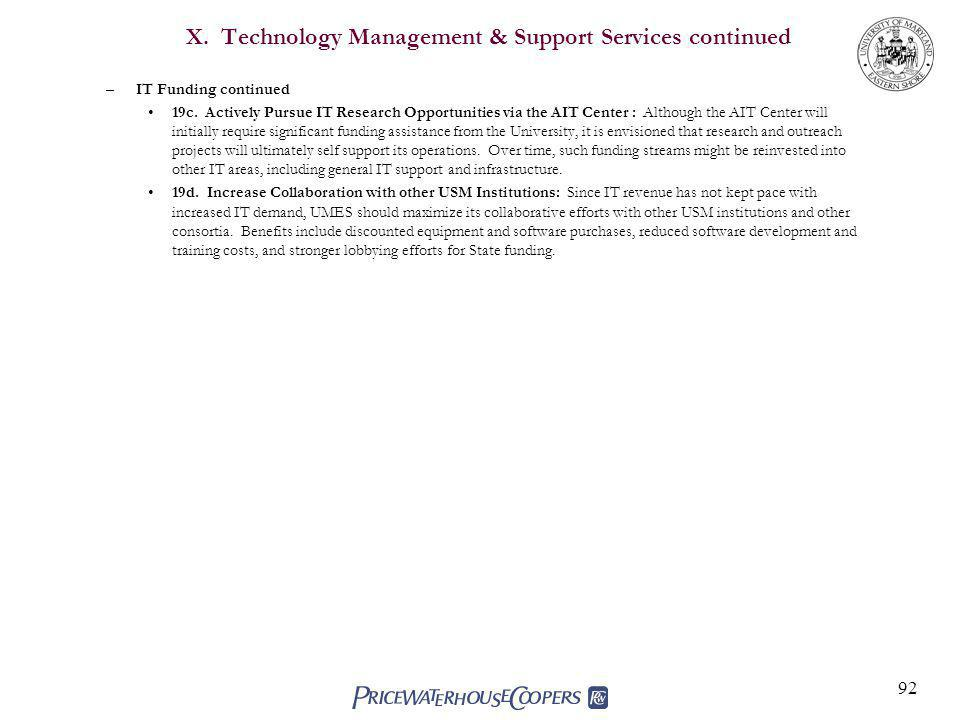 92 X.Technology Management & Support Services continued –IT Funding continued 19c.
