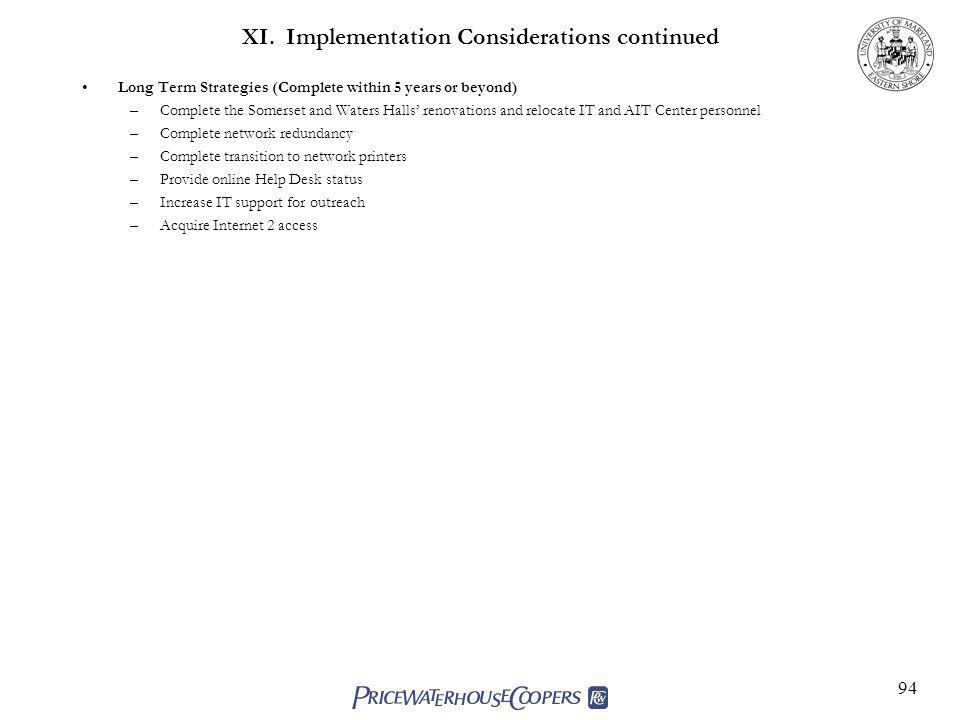 94 XI. Implementation Considerations continued Long Term Strategies (Complete within 5 years or beyond) –Complete the Somerset and Waters Halls renova