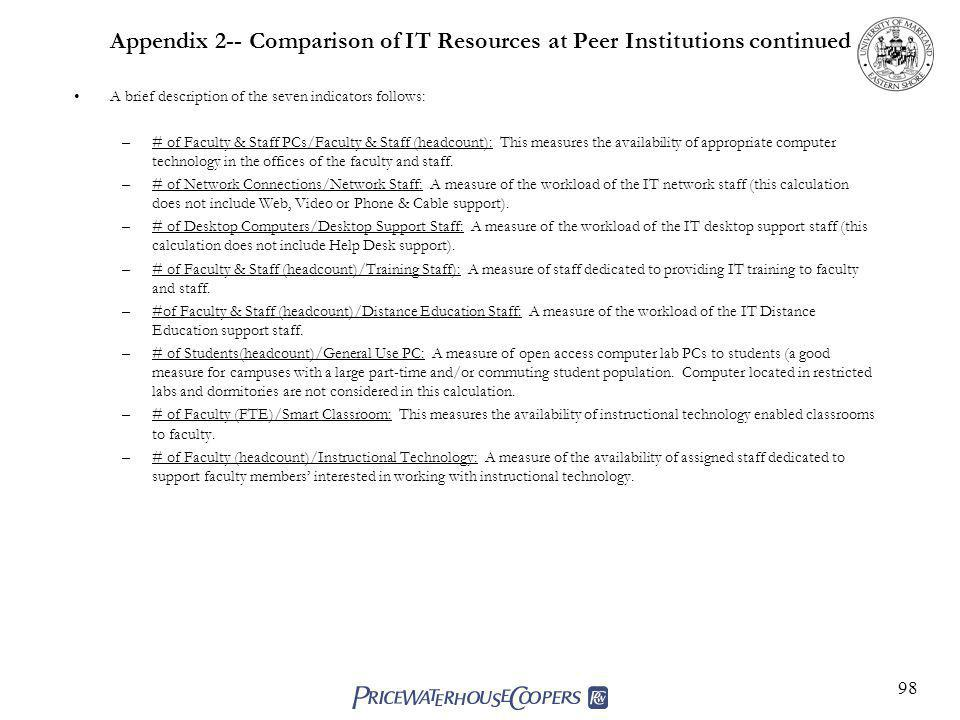 98 Appendix 2-- Comparison of IT Resources at Peer Institutions continued A brief description of the seven indicators follows: –# of Faculty & Staff PCs/Faculty & Staff (headcount): This measures the availability of appropriate computer technology in the offices of the faculty and staff.