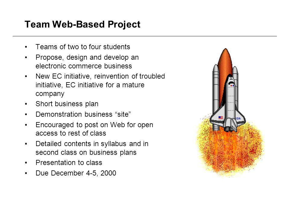 Team Web-Based Project Teams of two to four students Propose, design and develop an electronic commerce business New EC initiative, reinvention of troubled initiative, EC initiative for a mature company Short business plan Demonstration business site Encouraged to post on Web for open access to rest of class Detailed contents in syllabus and in second class on business plans Presentation to class Due December 4-5, 2000