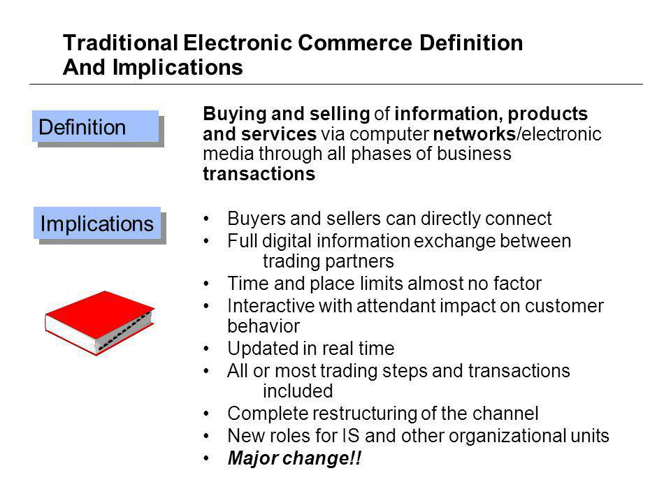 Traditional Electronic Commerce Definition And Implications Buying and selling of information, products and services via computer networks/electronic media through all phases of business transactions Buyers and sellers can directly connect Full digital information exchange between trading partners Time and place limits almost no factor Interactive with attendant impact on customer behavior Updated in real time All or most trading steps and transactions included Complete restructuring of the channel New roles for IS and other organizational units Major change!.