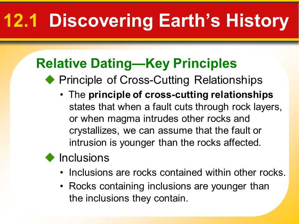 Relative DatingKey Principles 12.1 Discovering Earths History Principle of Cross-Cutting Relationships The principle of cross-cutting relationships st