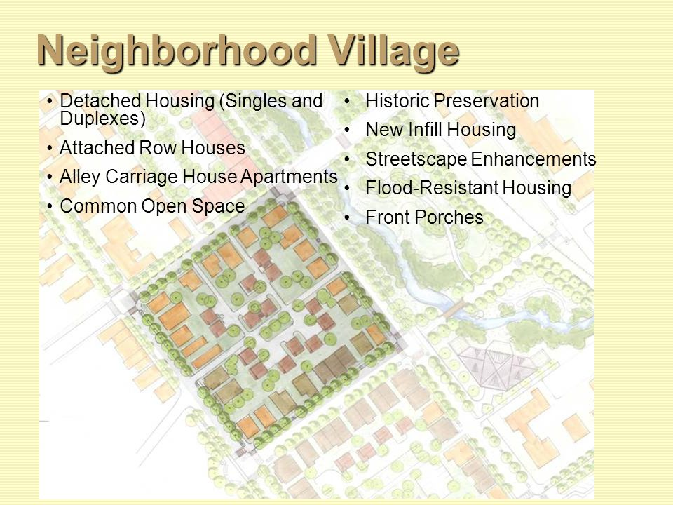 Neighborhood Village Detached Housing (Singles and Duplexes) Attached Row Houses Alley Carriage House Apartments Common Open Space Historic Preservation New Infill Housing Streetscape Enhancements Flood-Resistant Housing Front Porches
