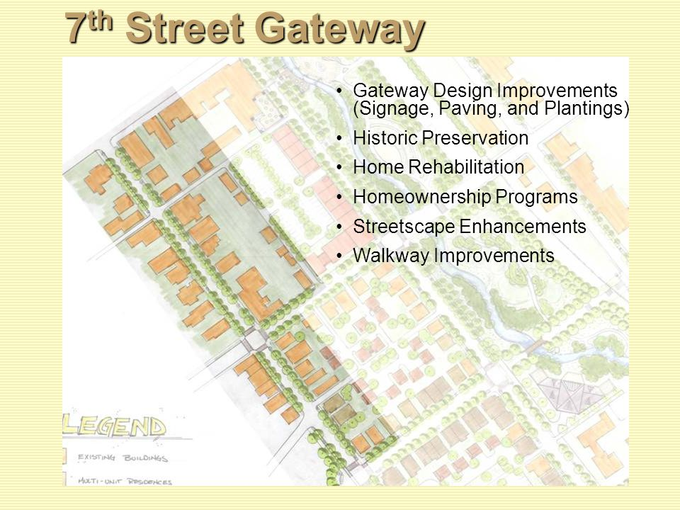 7 th Street Gateway Gateway Design Improvements (Signage, Paving, and Plantings) Historic Preservation Home Rehabilitation Homeownership Programs Streetscape Enhancements Walkway Improvements