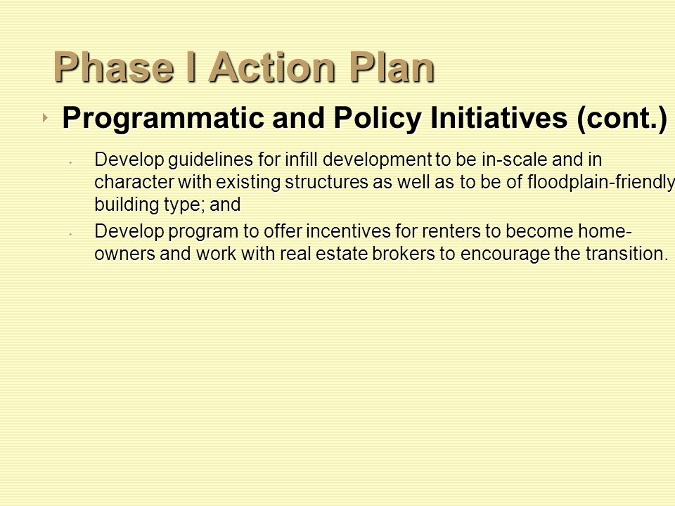 Phase I Action Plan Programmatic and Policy Initiatives (cont.) Programmatic and Policy Initiatives (cont.) Develop guidelines for infill development to be in-scale and in character with existing structures as well as to be of floodplain-friendly building type; and Develop guidelines for infill development to be in-scale and in character with existing structures as well as to be of floodplain-friendly building type; and Develop program to offer incentives for renters to become home- owners and work with real estate brokers to encourage the transition.