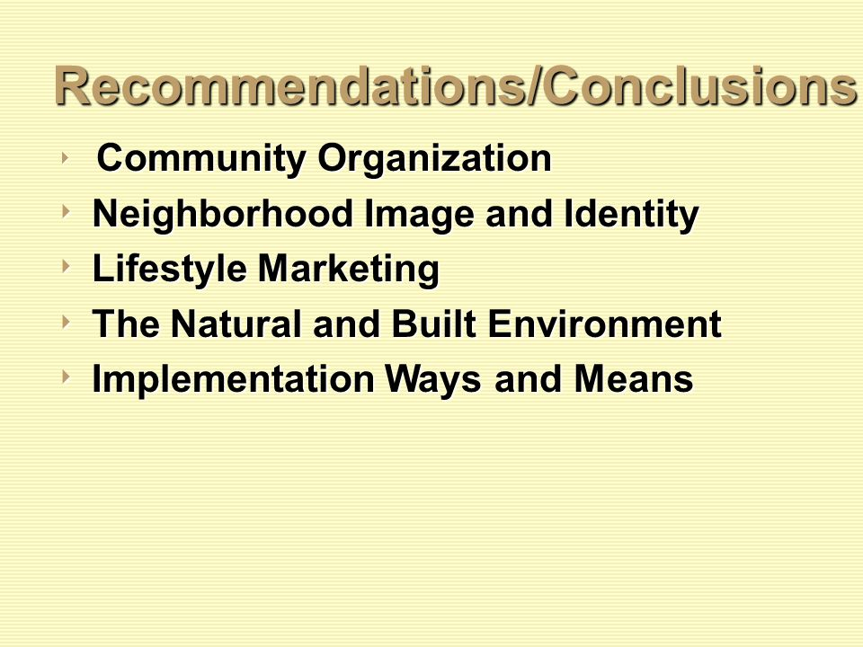 Recommendations/Conclusions Community Organization Community Organization Neighborhood Image and Identity Neighborhood Image and Identity Lifestyle Marketing Lifestyle Marketing The Natural and Built Environment The Natural and Built Environment Implementation Ways and Means Implementation Ways and Means