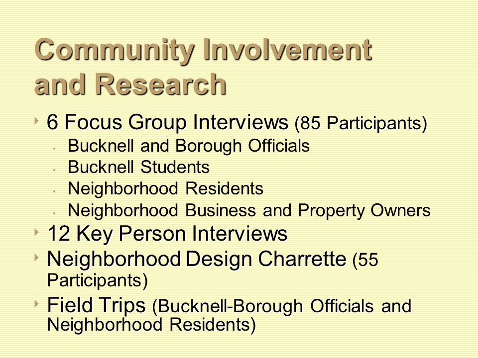 Community Involvement and Research Community Involvement and Research 6 Focus Group Interviews (85 Participants) 6 Focus Group Interviews (85 Participants) Bucknell and Borough Officials Bucknell Students Neighborhood Residents Neighborhood Business and Property Owners 12 Key Person Interviews 12 Key Person Interviews Neighborhood Design Charrette Neighborhood Design Charrette (55 Participants) Field Trips (Bucknell-Borough Officials and Neighborhood Residents) Field Trips (Bucknell-Borough Officials and Neighborhood Residents)