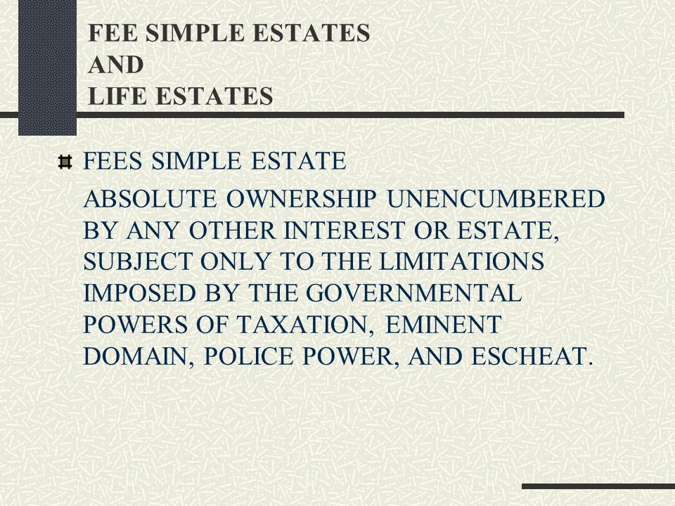 A FEE SIMPLE ESTATE INCLUDES SURFACE RIGHTS, AIR RIGHTS, SUB- SURFACE RIGHTS, AND ALL OTHER PROPERTY RIGHTS ASSOCIATED WITH REAL ESTATE OWNERSHIP.