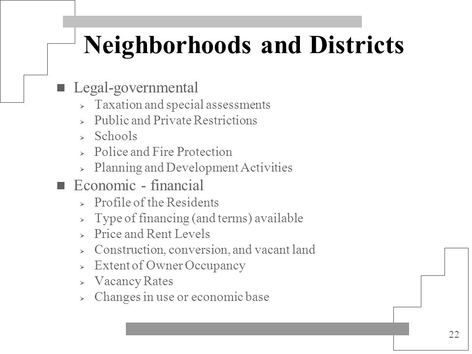 22 Neighborhoods and Districts Legal-governmental Taxation and special assessments Public and Private Restrictions Schools Police and Fire Protection