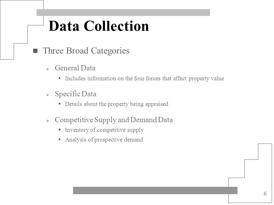 6 Data Collection Three Broad Categories General Data Includes information on the four forces that affect property value Specific Data Details about t