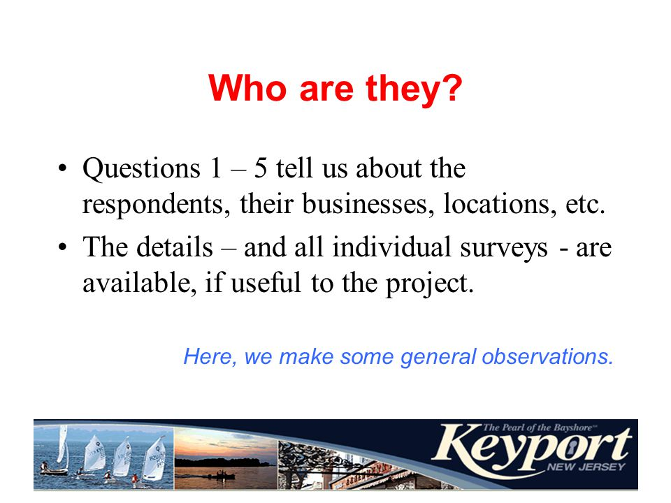 Who are they. Questions 1 – 5 tell us about the respondents, their businesses, locations, etc.
