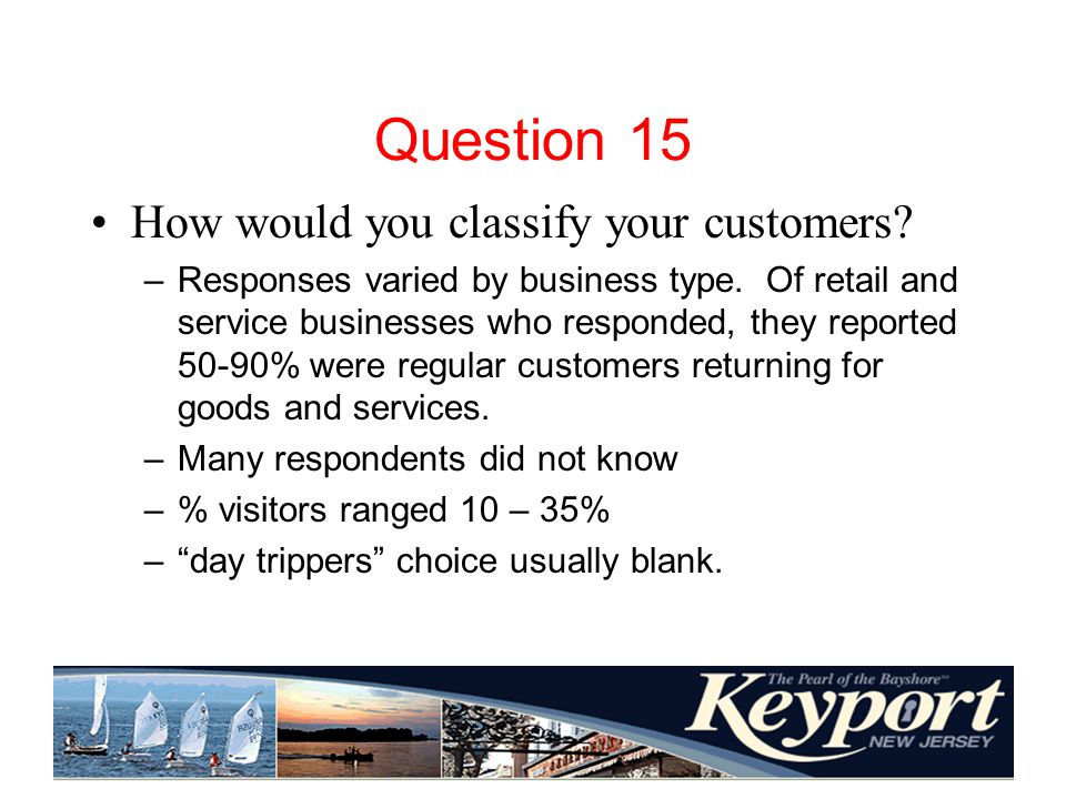 Question 15 How would you classify your customers.