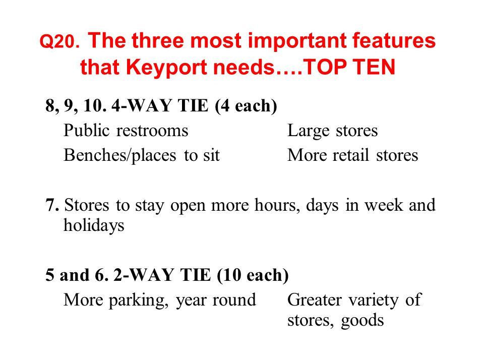 Q20. The three most important features that Keyport needs….TOP TEN 8, 9, 10.