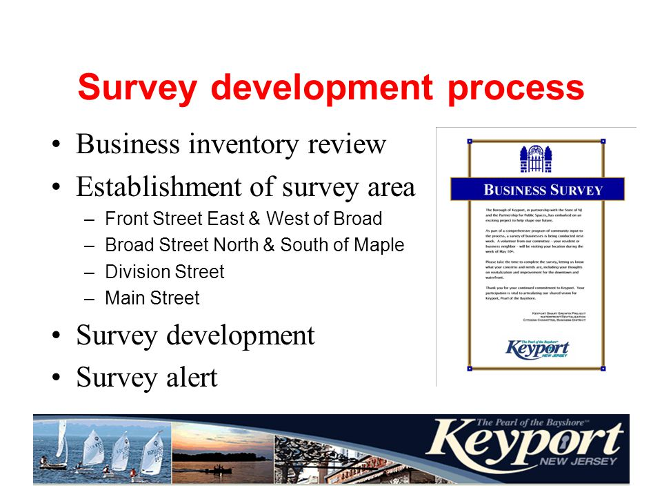 Survey development process Business inventory review Establishment of survey area –Front Street East & West of Broad –Broad Street North & South of Maple –Division Street –Main Street Survey development Survey alert