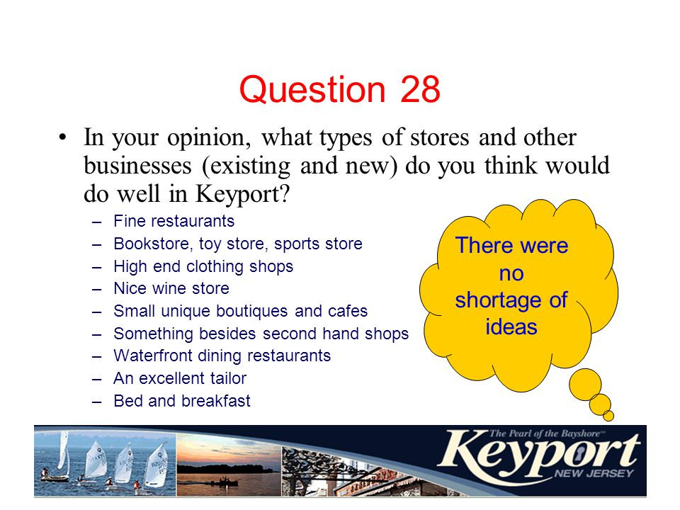 Question 28 In your opinion, what types of stores and other businesses (existing and new) do you think would do well in Keyport.