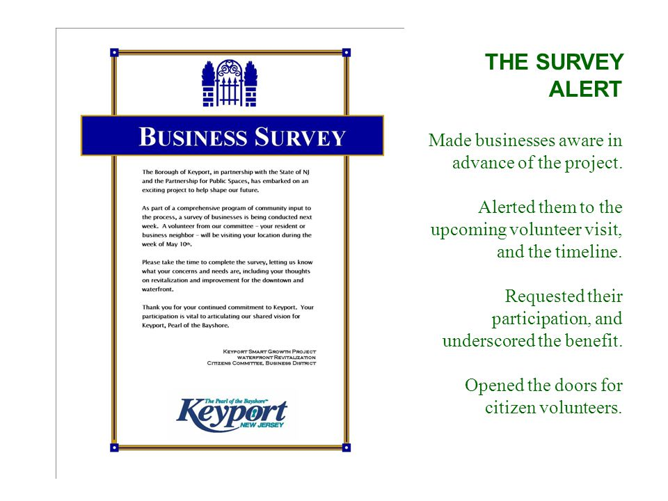 THE SURVEY ALERT Made businesses aware in advance of the project.