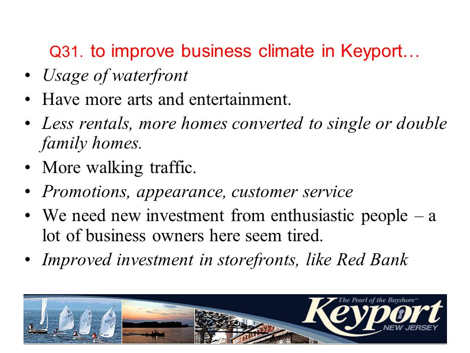 Q31. to improve business climate in Keyport… Usage of waterfront Have more arts and entertainment.