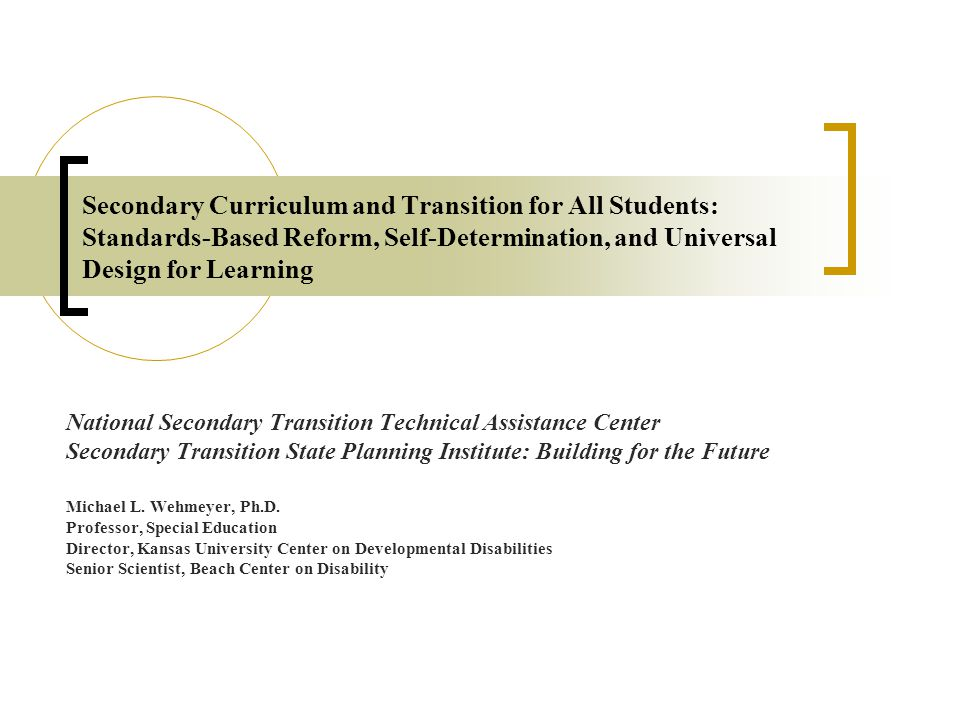 Secondary Curriculum and Transition for All Students: Standards-Based Reform, Self-Determination, and Universal Design for Learning National Secondary Transition Technical Assistance Center Secondary Transition State Planning Institute: Building for the Future Michael L.