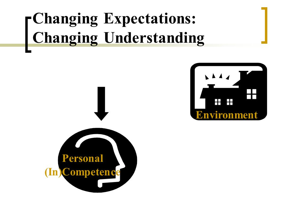 Personal (In)Competence Environment Changing Expectations: Changing Understanding