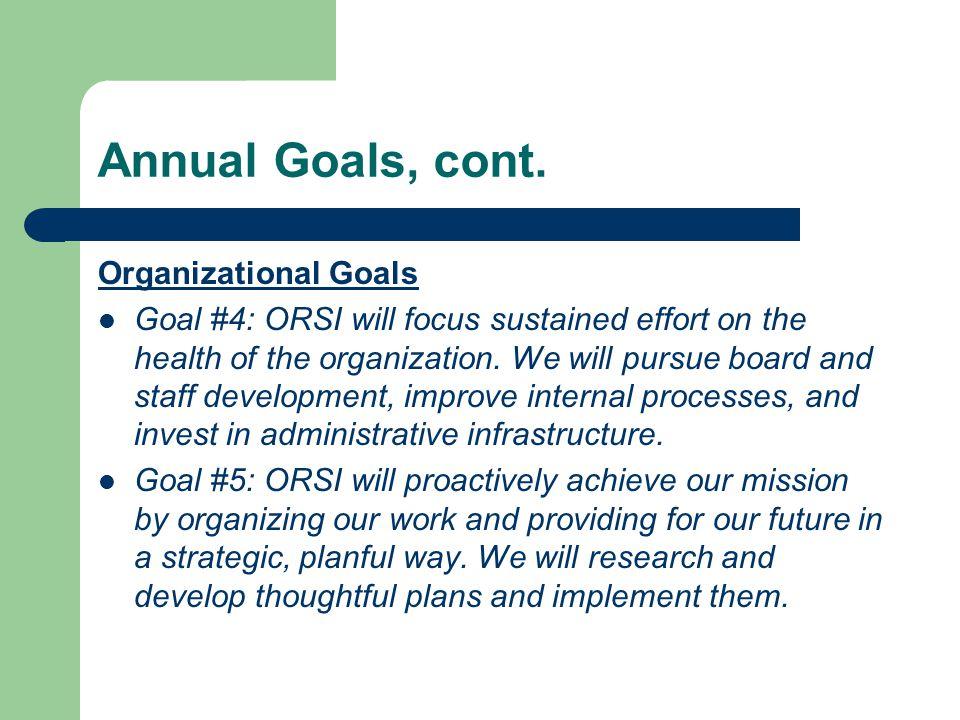 Annual Goals, cont.