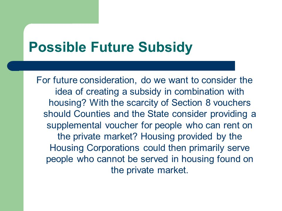 Possible Future Subsidy For future consideration, do we want to consider the idea of creating a subsidy in combination with housing.