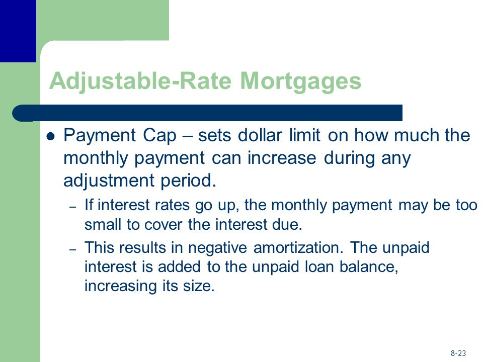 8-23 Adjustable-Rate Mortgages Payment Cap – sets dollar limit on how much the monthly payment can increase during any adjustment period. – If interes