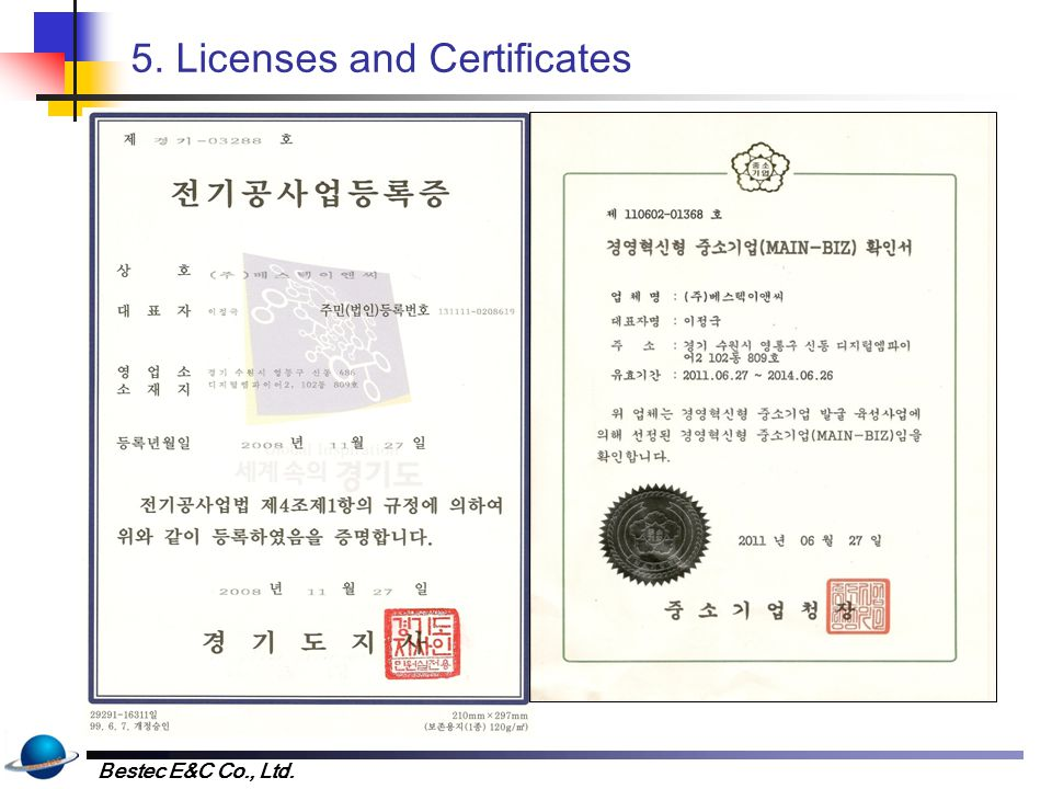 Bestec E&C Co., Ltd. 5. Licenses and Certificates