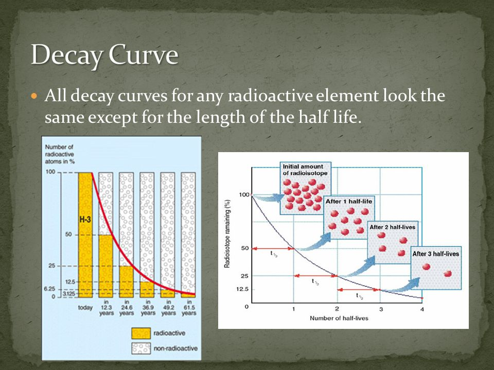 All decay curves for any radioactive element look the same except for the length of the half life.