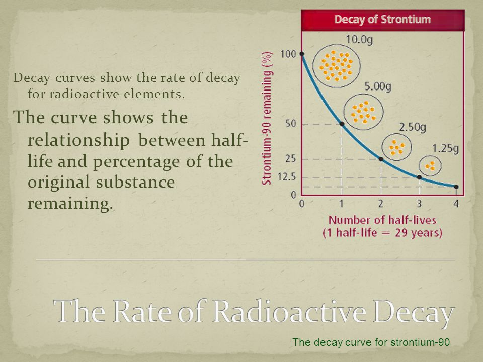 Decay curves show the rate of decay for radioactive elements. The curve shows the relationship between half- life and percentage of the original subst