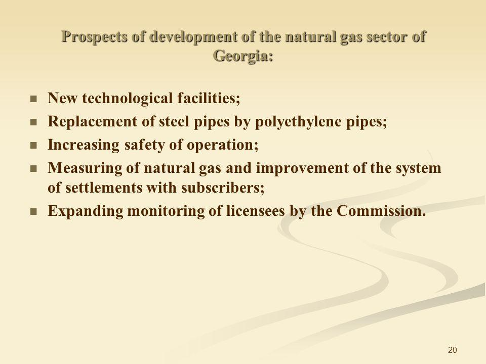 20 New technological facilities; Replacement of steel pipes by polyethylene pipes; Increasing safety of operation; Measuring of natural gas and improvement of the system of settlements with subscribers; Expanding monitoring of licensees by the Commission.