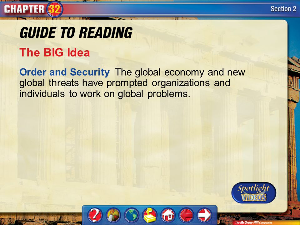 Section 2-Main Idea The BIG Idea Order and Security The global economy and new global threats have prompted organizations and individuals to work on global problems.