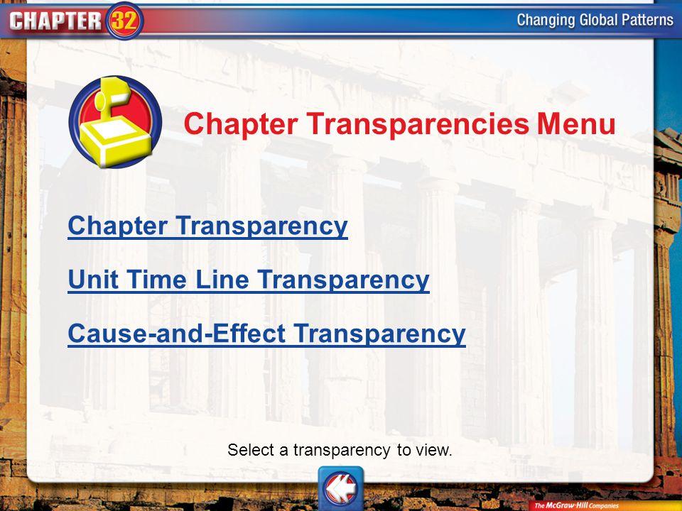 Chapter Trans Menu Chapter Transparencies Menu Chapter Transparency Unit Time Line Transparency Cause-and-Effect Transparency Select a transparency to view.
