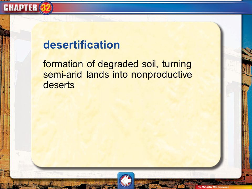 Vocab4 desertification formation of degraded soil, turning semi-arid lands into nonproductive deserts