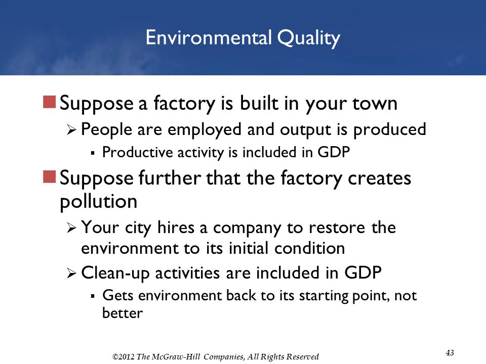 ©2012 The McGraw-Hill Companies, All Rights Reserved 43 Environmental Quality Suppose a factory is built in your town People are employed and output i