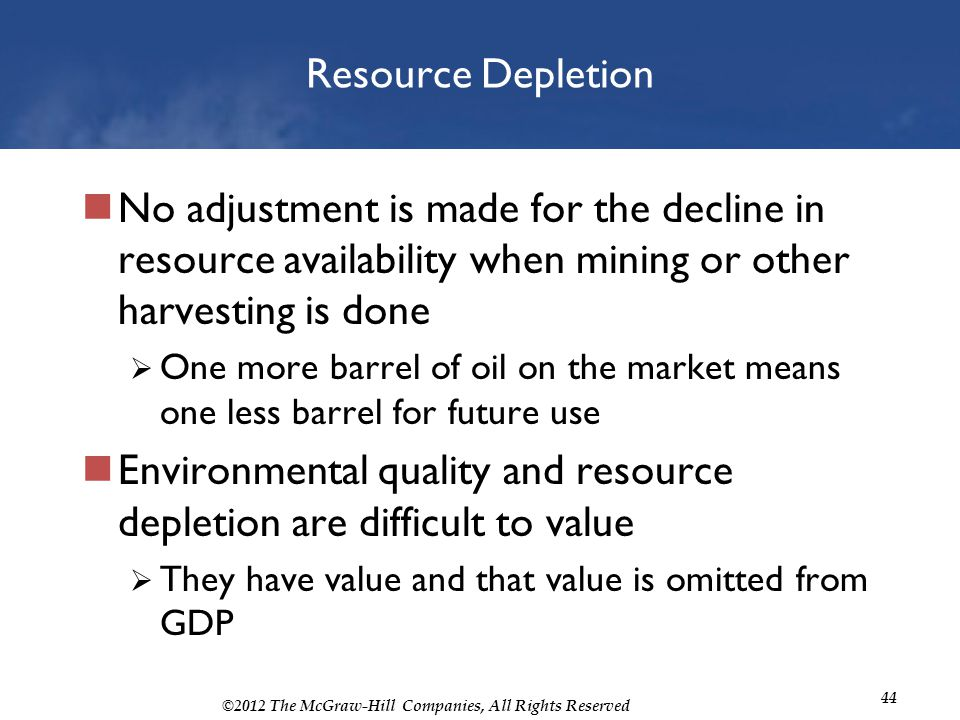 ©2012 The McGraw-Hill Companies, All Rights Reserved 44 Resource Depletion No adjustment is made for the decline in resource availability when mining