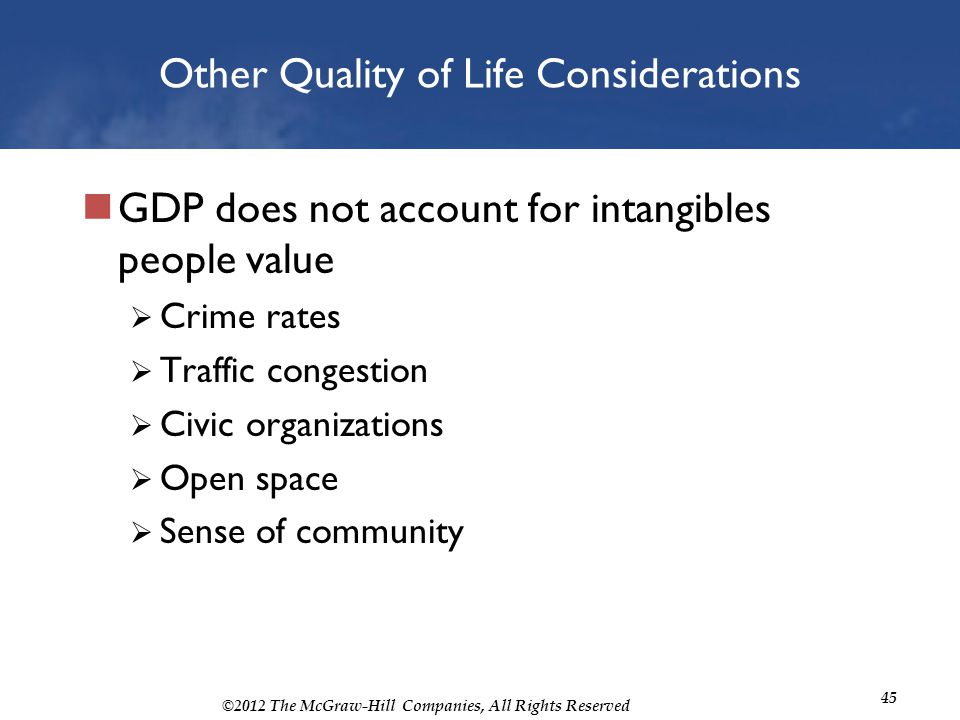 ©2012 The McGraw-Hill Companies, All Rights Reserved 45 Other Quality of Life Considerations GDP does not account for intangibles people value Crime r