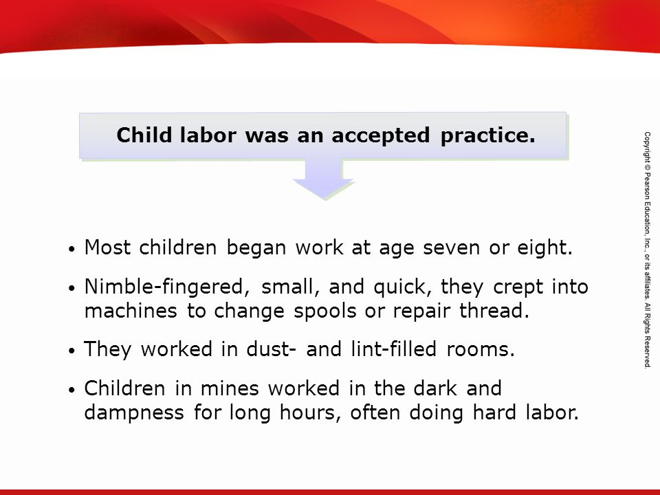 TEKS 8C: Calculate percent composition and empirical and molecular formulas. Child labor was an accepted practice. Most children began work at age sev