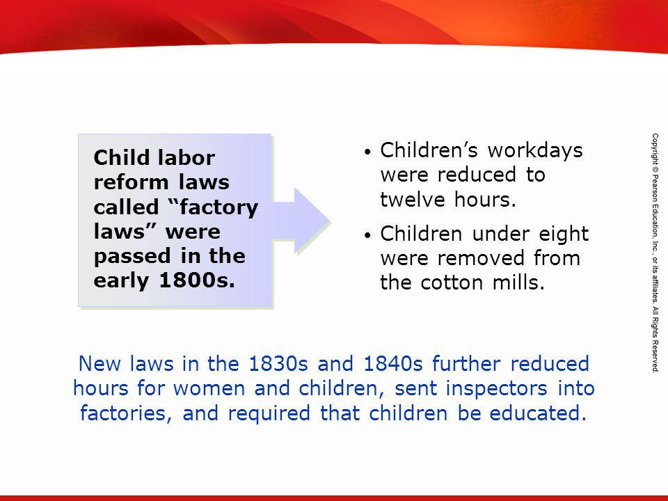 TEKS 8C: Calculate percent composition and empirical and molecular formulas. Child labor reform laws called factory laws were passed in the early 1800
