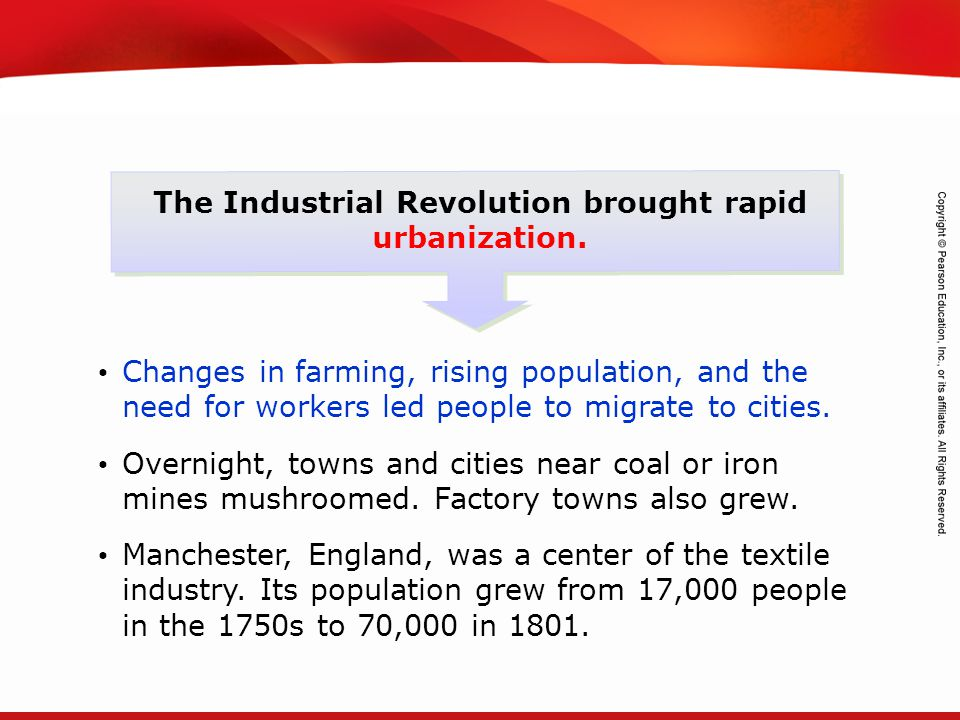 TEKS 8C: Calculate percent composition and empirical and molecular formulas. The Industrial Revolution brought rapid urbanization. Changes in farming,