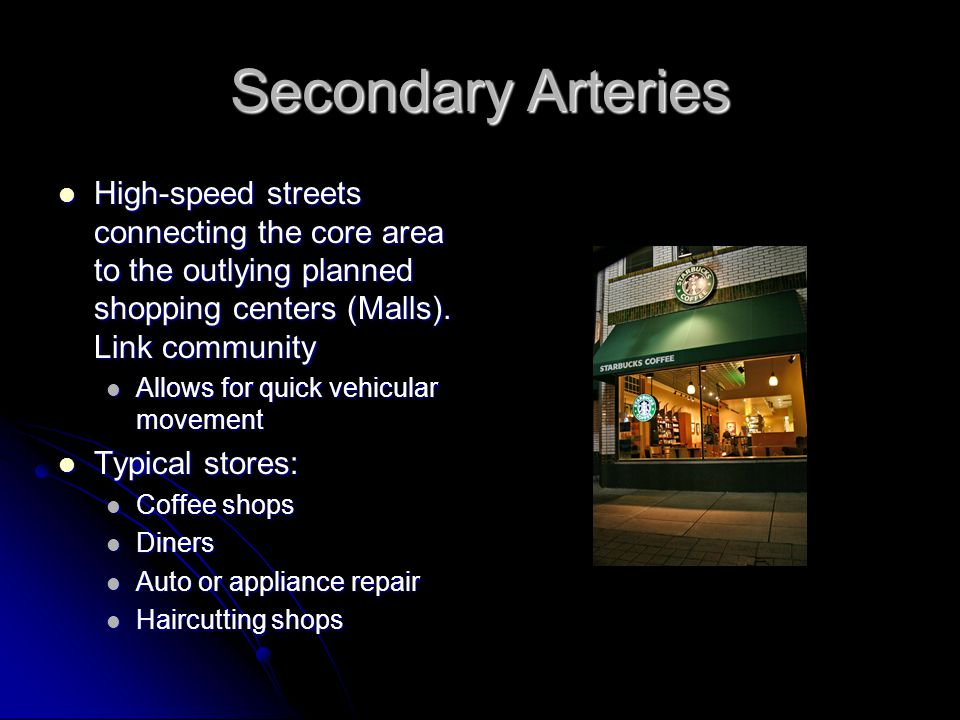 Secondary Shopping Districts Plazas Plazas Usually half way along secondary arteries Usually half way along secondary arteries In essence a mini downtown In essence a mini downtown Often are branch stores of larger downtown trunk stores Often are branch stores of larger downtown trunk stores