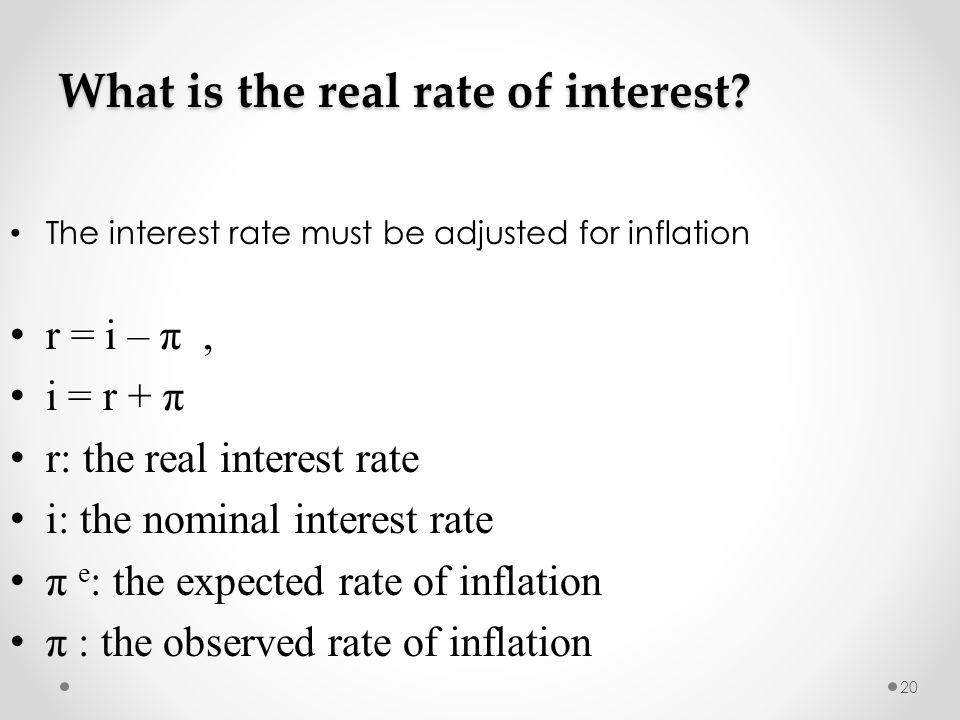 20 What is the real rate of interest.