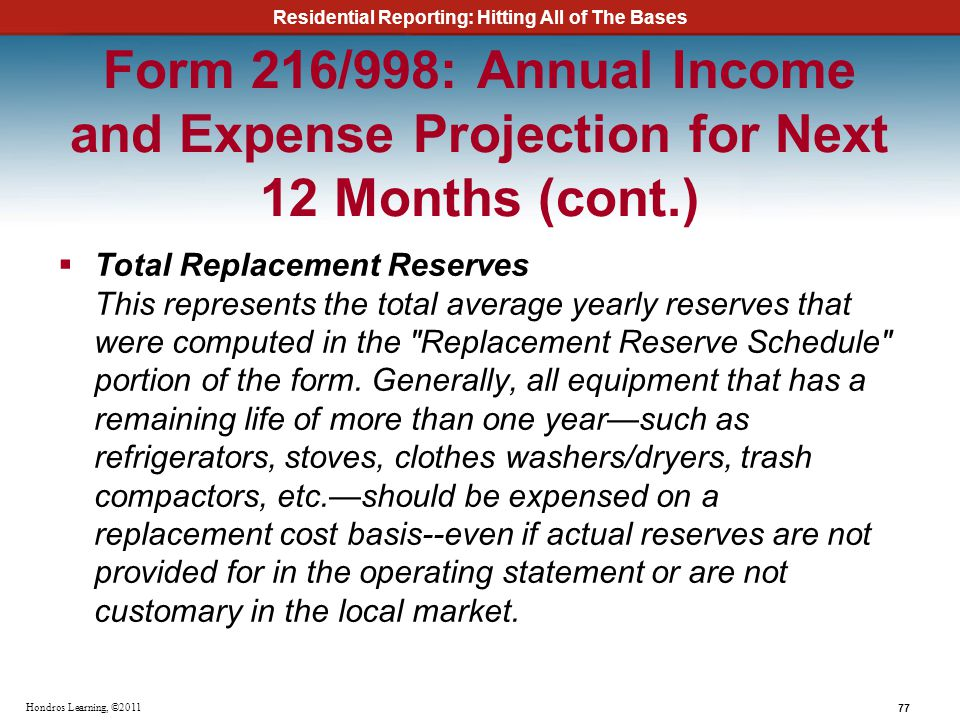 Residential Reporting: Hitting All of The Bases 77 Hondros Learning, ©2011 Form 216/998: Annual Income and Expense Projection for Next 12 Months (cont